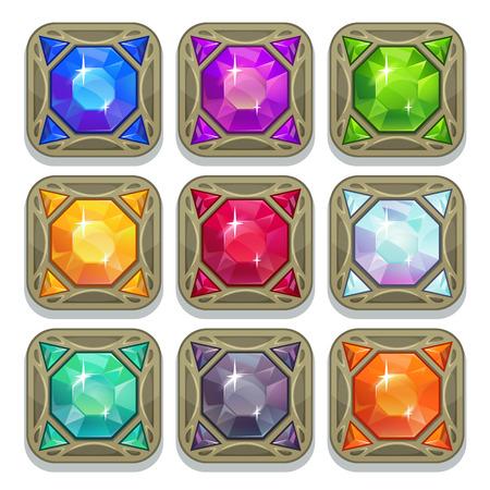 Illustration pour Set of colorful magic gemstones, square shape amulets, vector game elements - image libre de droit