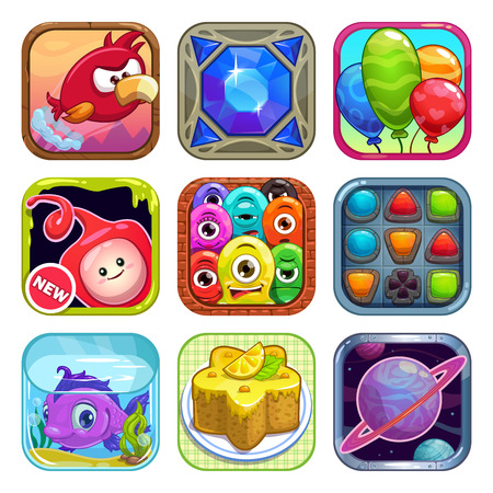 Set of cool app store game icons, vector illustration