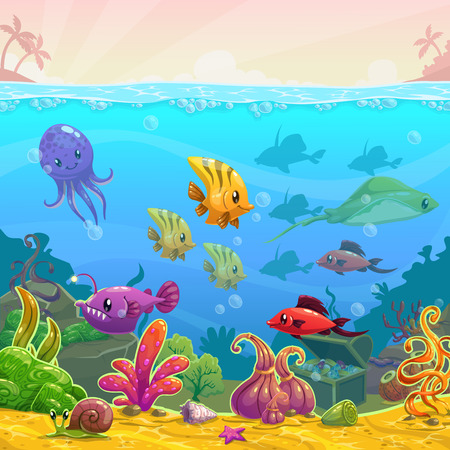 Illustration pour Funny cartoon vector underwater illustration with sea animals, square size - image libre de droit