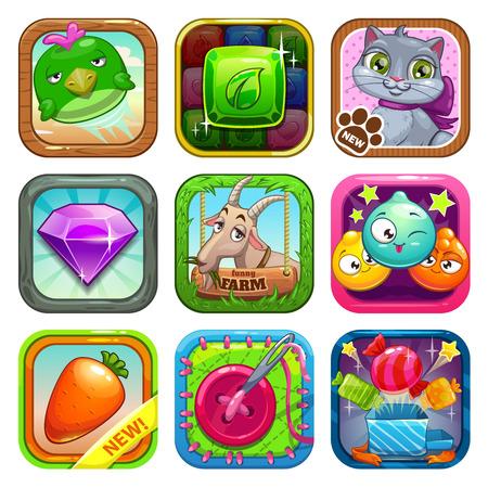 Illustration pour Set of app store game icons, vector illustration - image libre de droit