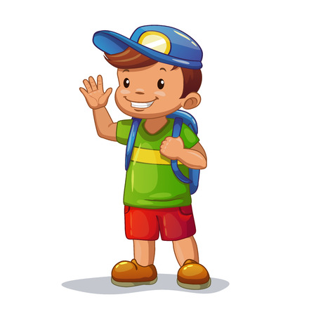 Funny cartoon little boy with school bag is waving his hand, isolated vector