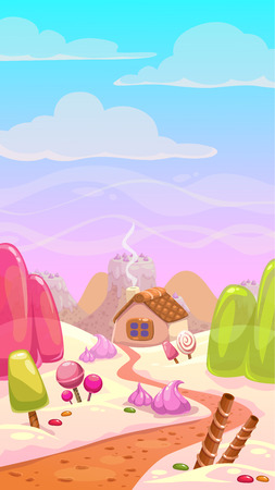 Candy world illustration, vector landscape with sweet elements, vertical background