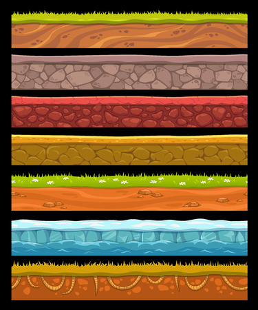 Seamless landscape elements set, vector ground collection