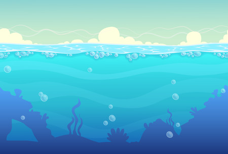 Illustration pour Underwater cartoon seamless landscape, sea vector background - image libre de droit