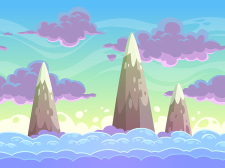 Seamless cartoon horizontal cloudscape, separated layers, vector game backgroundのイラスト素材