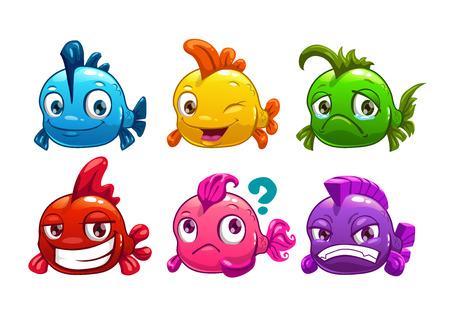 Illustration pour Cute cartoon colorful fishes set, vector illustration - image libre de droit