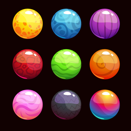 Funny cartoon colorful shiny bubbles, vector elements for game design