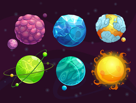 Cartoon fantasy alien planets set, funny elements for another universe design