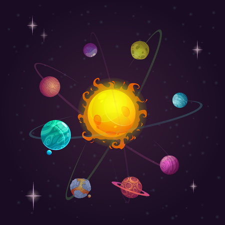 Fantasy solar system, alien planets and star, vector space illustrationのイラスト素材
