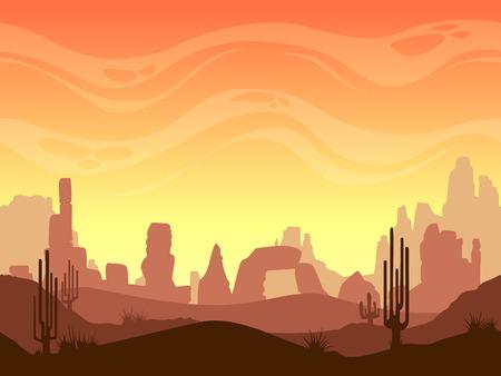 Illustration pour Seamless cartoon desert landscape, vector layered game background for parallax effect - image libre de droit
