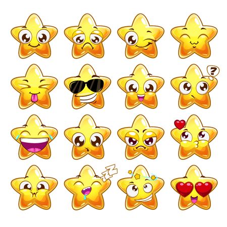Funny cartoon star character emotions set, vector icons, isolated on white