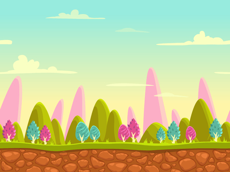 Fantasy cartoon landscape, seamless nature background for game design, layered vector illustration for parallax effectのイラスト素材