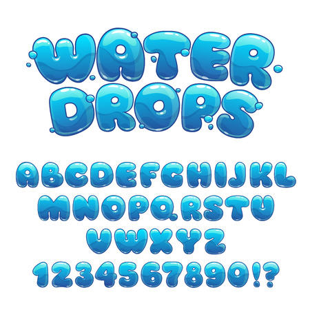 Illustration for Cartoon water drops font, funny blue alphabet, vector water letters and numbers - Royalty Free Image