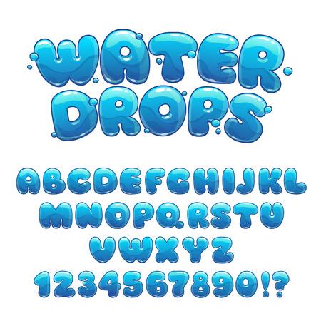 Illustration pour Cartoon water drops font, funny blue alphabet, vector water letters and numbers - image libre de droit