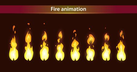 Illustration for Fire animation sprites, vector flame video frames for game design - Royalty Free Image
