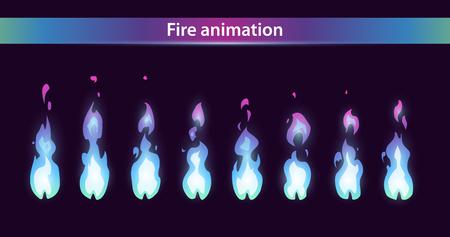Illustration pour Blue fire animation sprites, vector flame video frames for game design - image libre de droit