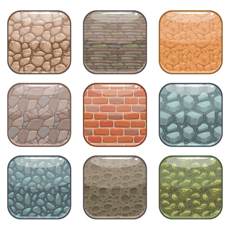 Illustration pour Rounded square app icons, soil background template set, colorful vector ground textures buttons, isolated on white - image libre de droit