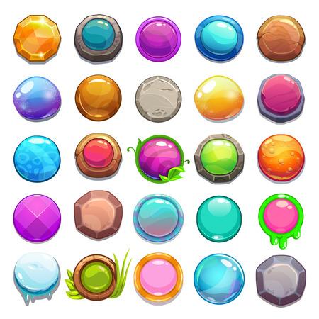 Illustration pour Big set of cartoon round buttons, vector gui assets collection for game design - image libre de droit