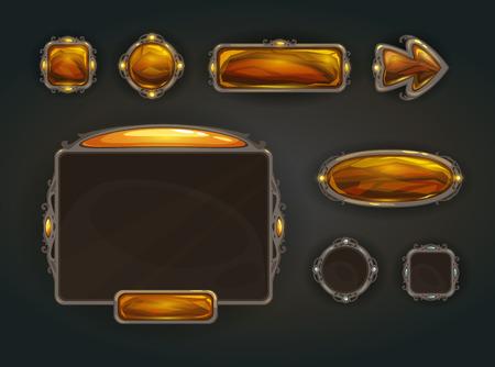 Illustration pour Cool game user interface vector assets, medieval war GUI concept - image libre de droit