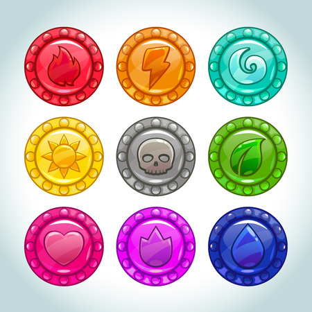 Colorful cartoon medallions with nature elements icons set, vector assets for game design