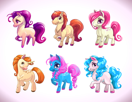 Illustration for Funny cartoon farm pony characters, girlish beautiful baby horses icons set, illustration isolated on white, cute prints for kids t shirt design - Royalty Free Image