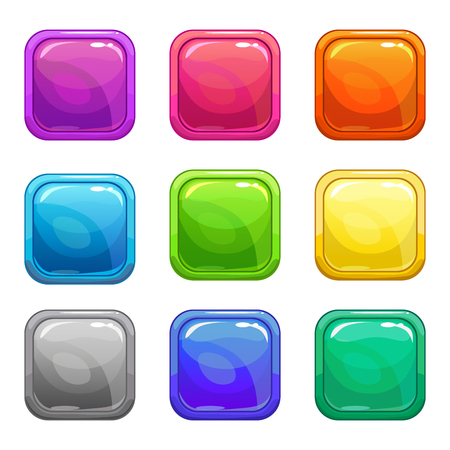 Illustration pour Colorful square glossy buttons set, vector assets for web or game design, isolated on white - image libre de droit
