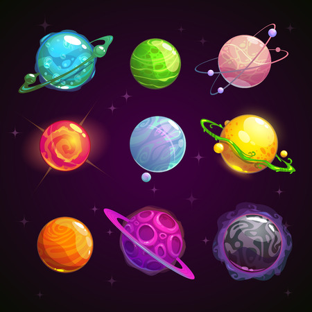 Colorful cartoon fantasy planets set on space background, vector illustration