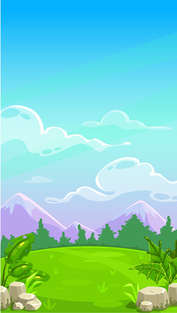 Illustration pour Beautiful mountain meadow landscape. Vector cartoon outdoor illustration. Sunny day background for game design. Vertical design for mobile phone screen. - image libre de droit