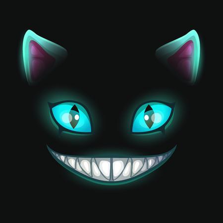 Ilustración de Fantasy scary smiling cat face on black background. - Imagen libre de derechos
