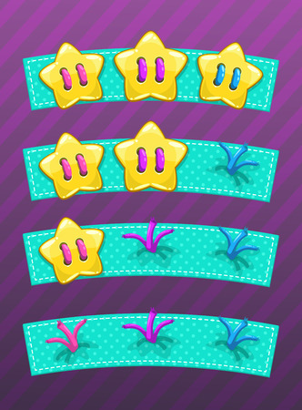 Level complete header with stars. Vector gui assets set. Game over screen.