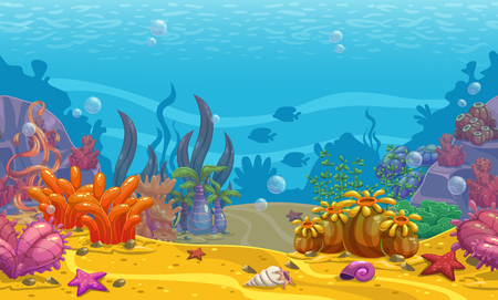 Illustration for Cartoon seamless underwater background. - Royalty Free Image