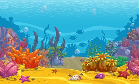 Cartoon seamless underwater background.
