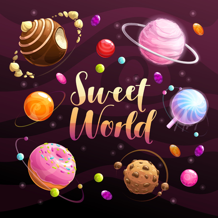Illustration for Sweet world poster. Food planets set on the space background. Cotton candy, chocolate cookie, candy, donut, caramel sweets icons. Vector illustration. - Royalty Free Image