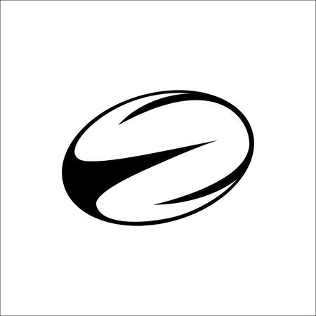 Illustration pour illustration of black, white rugby ball - image libre de droit