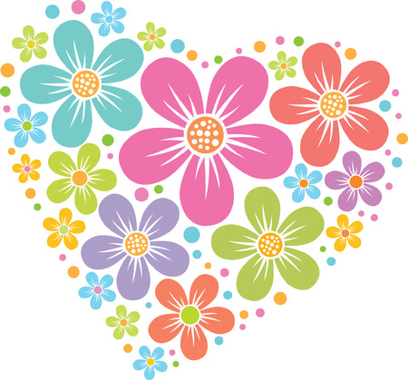vector heart from floral pattern, colored silhouette