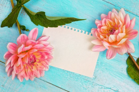 Foto de dahlias and a canvas on a blue wooden background. art. Summer background with a space for a text - Imagen libre de derechos