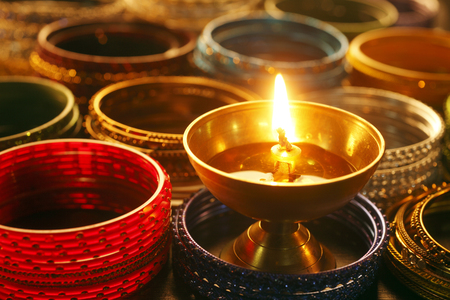 oil lamp and the indian colorful bangle