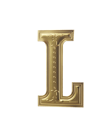 Foto per stock image of gold color alphabet with clipping path - Immagine Royalty Free