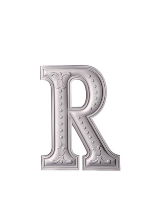stock image of the silver color alphabet r
