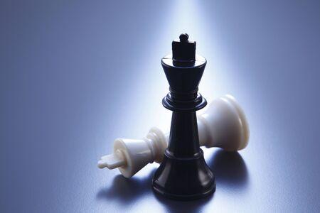 Photo pour kings of the chess on the blue background - image libre de droit