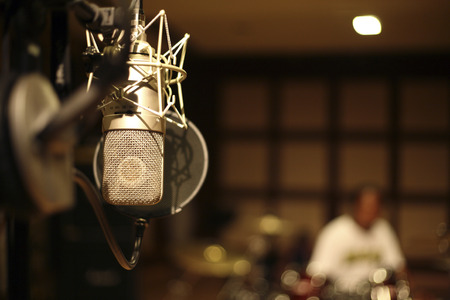 Photo for microphone in the recording room - Royalty Free Image