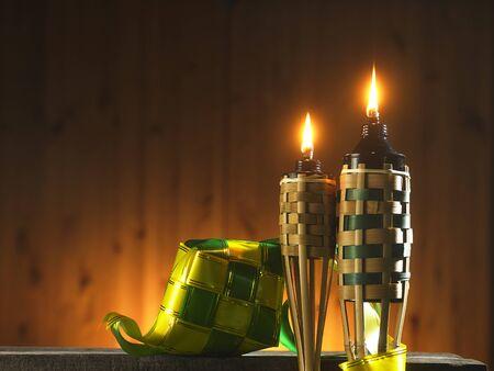 Photo pour bamboo torch or pelita and ribbon ketupat icon of hari raya - image libre de droit