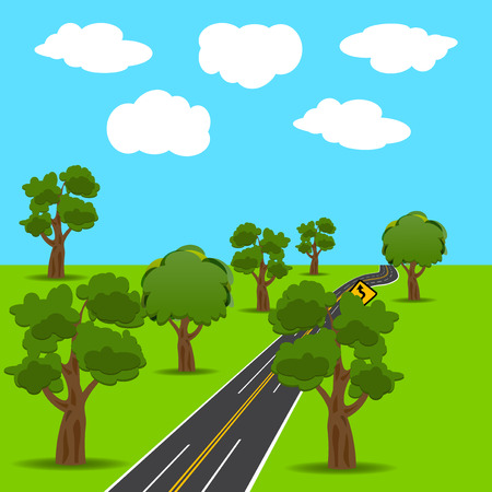 Intersections and branch roads in the animated style. Green trees. Landscape.  illustration
