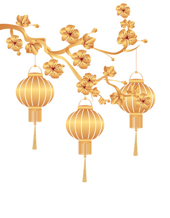 Ilustración de Chinese New Year. Stylized gold for Chinese lanterns on a cherry branch. Vector illustration - Imagen libre de derechos