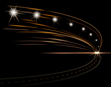 Abstract light effects. Car headlight. Road, street, expressway. illustration