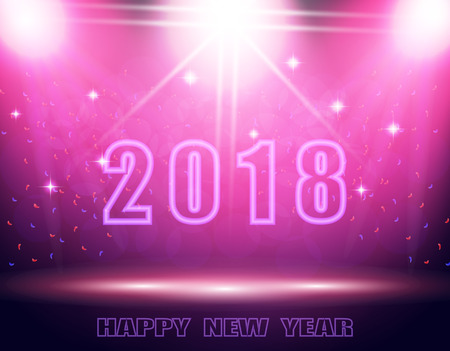 Happy New Year 2018 text. Background in the show. The podium, the stage lit by a searchlight.