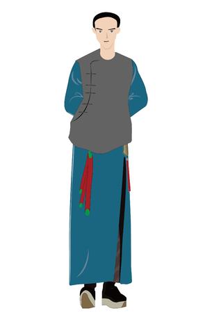 Illustration pour The qing dynasty man - image libre de droit