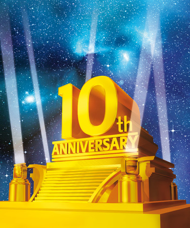 golden 10 years anniversary on a platform against galaxy