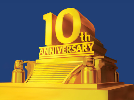 golden 10th anniversary on a platform