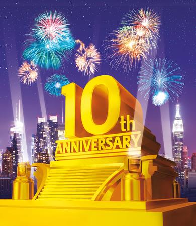 Golden 10 years anniversary against city skyline